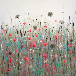 Summer Wishes by Jo Starkey - Original painted on Silk on Board sized 28x28 inches. Available from Whitewall Galleries
